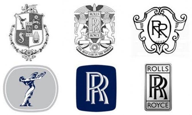 Эволюция логотипа Роллс-Ройс