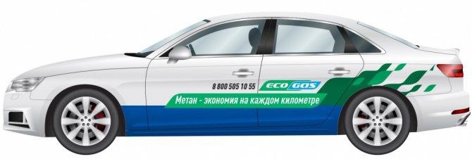 оклейка легкового автомобиля рекламой EcoGas