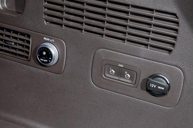 В багажнике есть кнопки дистанционного складывания спинок задних сидений и ручка управления микроклиматом. Жаль, последняя доступна лишь пассажирам третьего ряда, — куда логичнее было бы переместить ее на второй